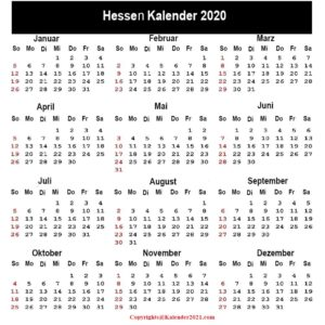 Feiertagen 2020 Hessen Kalender
