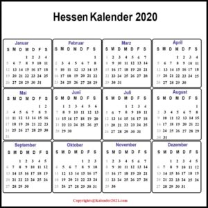 2020 Sommerferien Hessen PDF