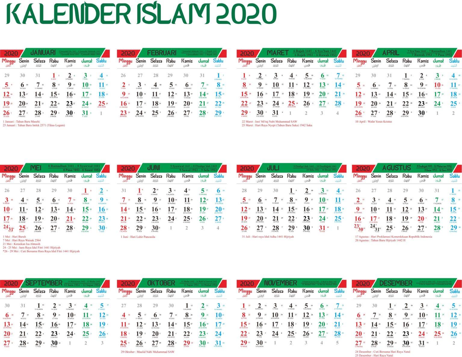 Islamischer 2020 Kalender