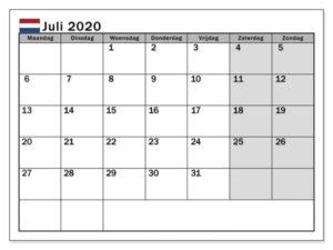 Juli 2020 Kalender