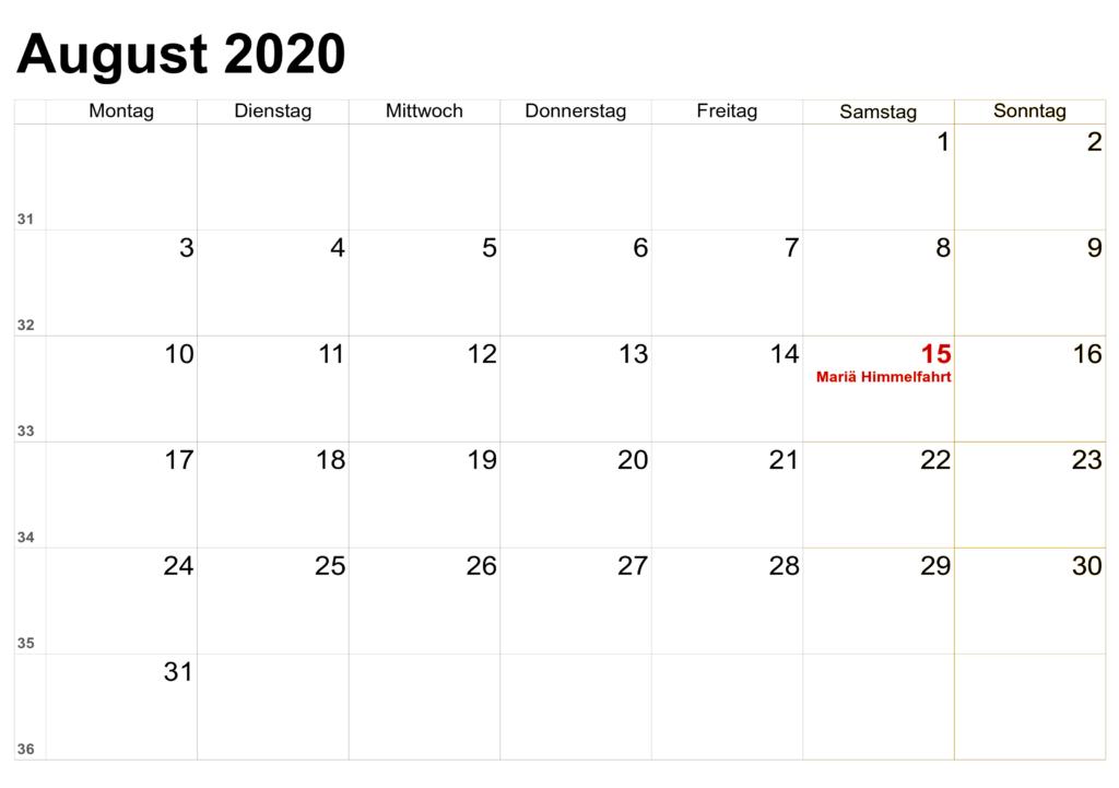 2020 Kalender August Zum Ausdrucken
