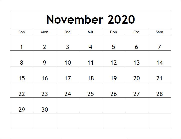 2020 Kalender November Zum Ausdrucken
