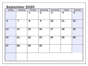Kalender 2020 September Zum Ausdrucken
