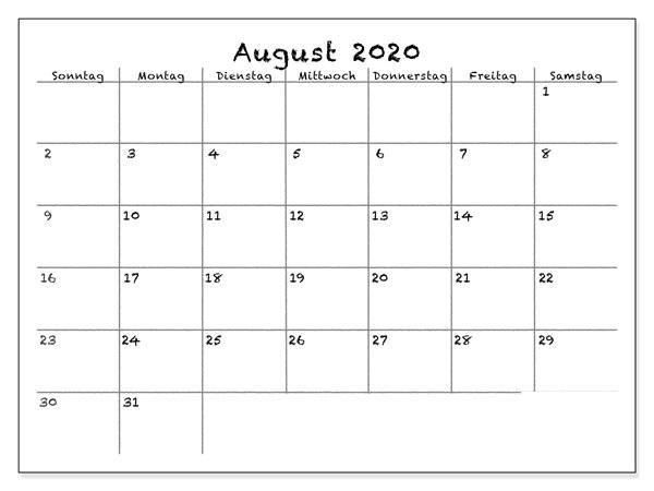 2020 Kalender August Ausdrucken