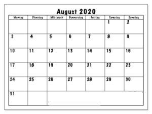 Kalender August 2020 Drucken