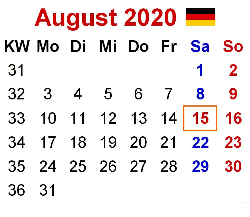 Kalender August 2020 Vorlage