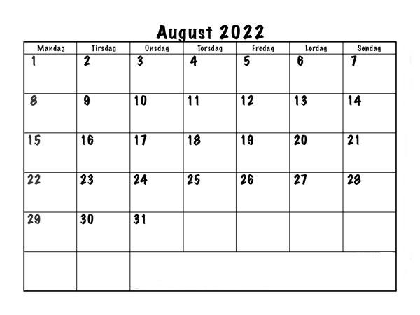 Kalender August 2022 Drucken