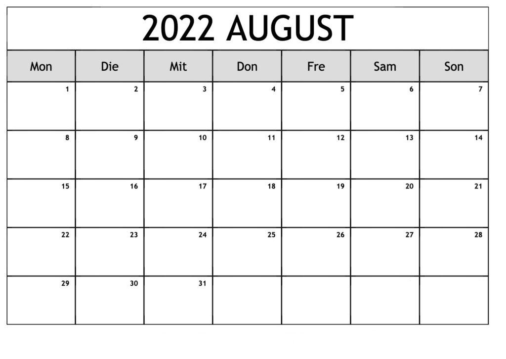 Kalender August 2022 Vorlage