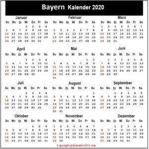 Bayern 2020 Kalender Zum Ausdrucken