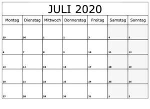 Kalender Juli 2020 Ausdrucken