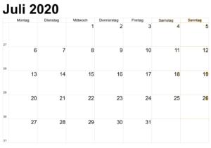 Kalender Juli 2020 Vorlage