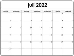 Kalender Juli 2022 Vorlage