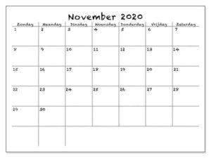 November 2020 Ausdrucken Kalender