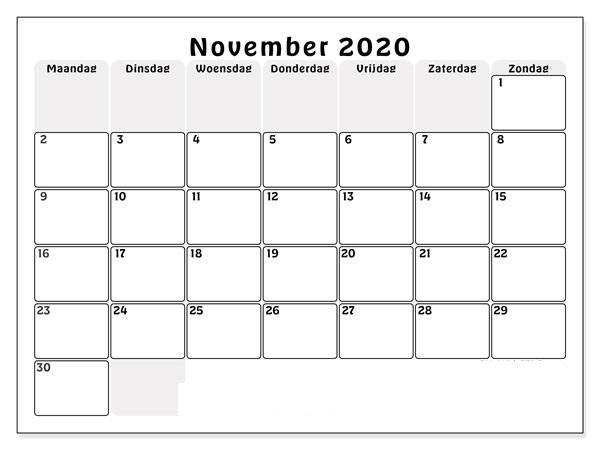 November 2020 Drucken Kalender