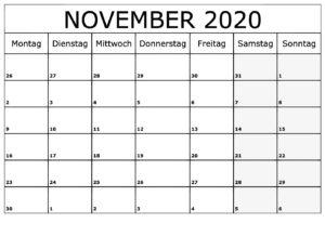 November 2020KalenderVorlage
