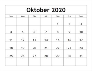 Kalender Oktober 2020 Drucken