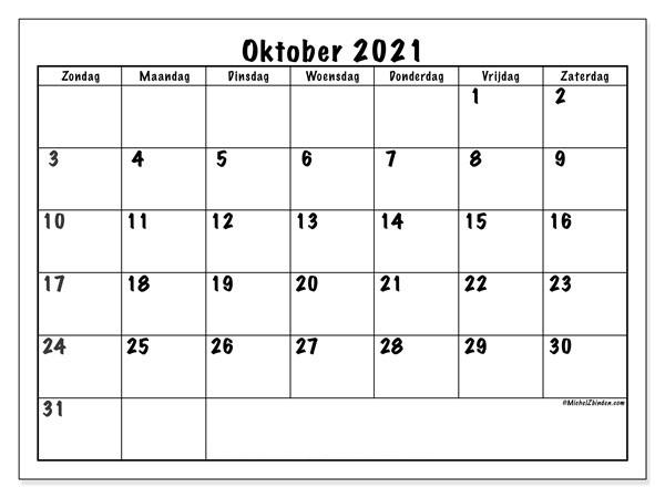 Kalender Oktober 2021 Vorlage
