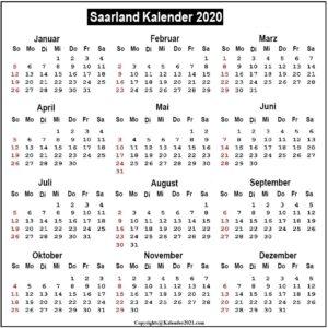 2020 Kalender Saarland Zum Ausdrucken