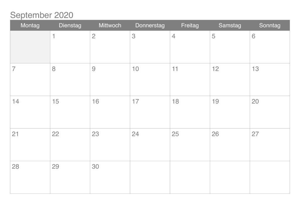 September 2020 Drucken Kalender