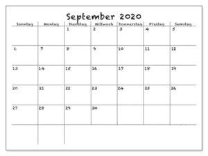 September 2020 Vorlage Kalender