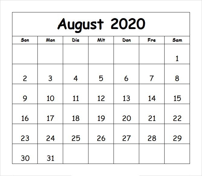 Monats Kalender August 2020