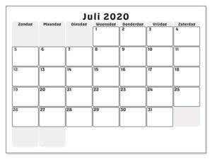 Monats Kalender Juli 2020