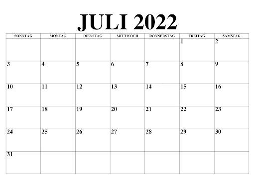 Monats Kalender Juli 2022