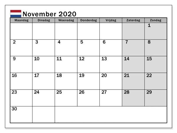 Monats Kalender November 2020