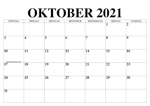 Monats Kalender Oktober 2021