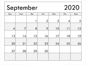 Monats Kalender September 2020