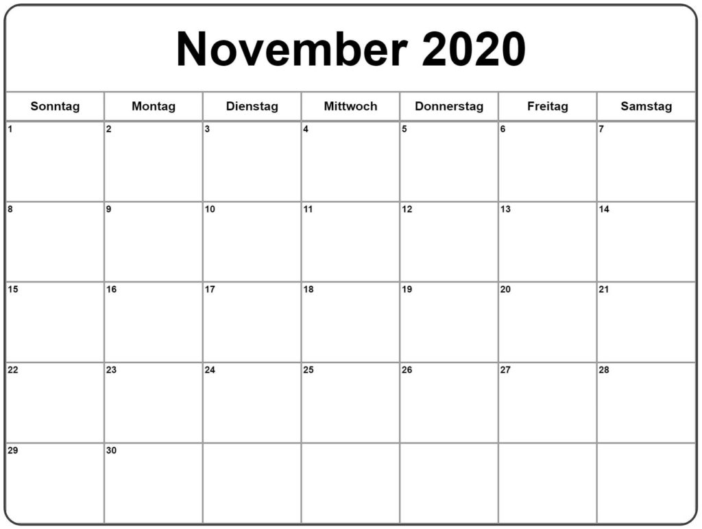2020 November Kalender