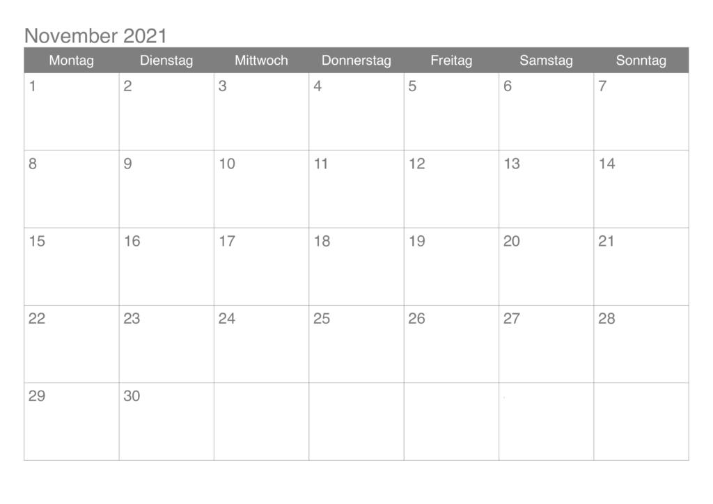 November 2021 Drucken Kalender