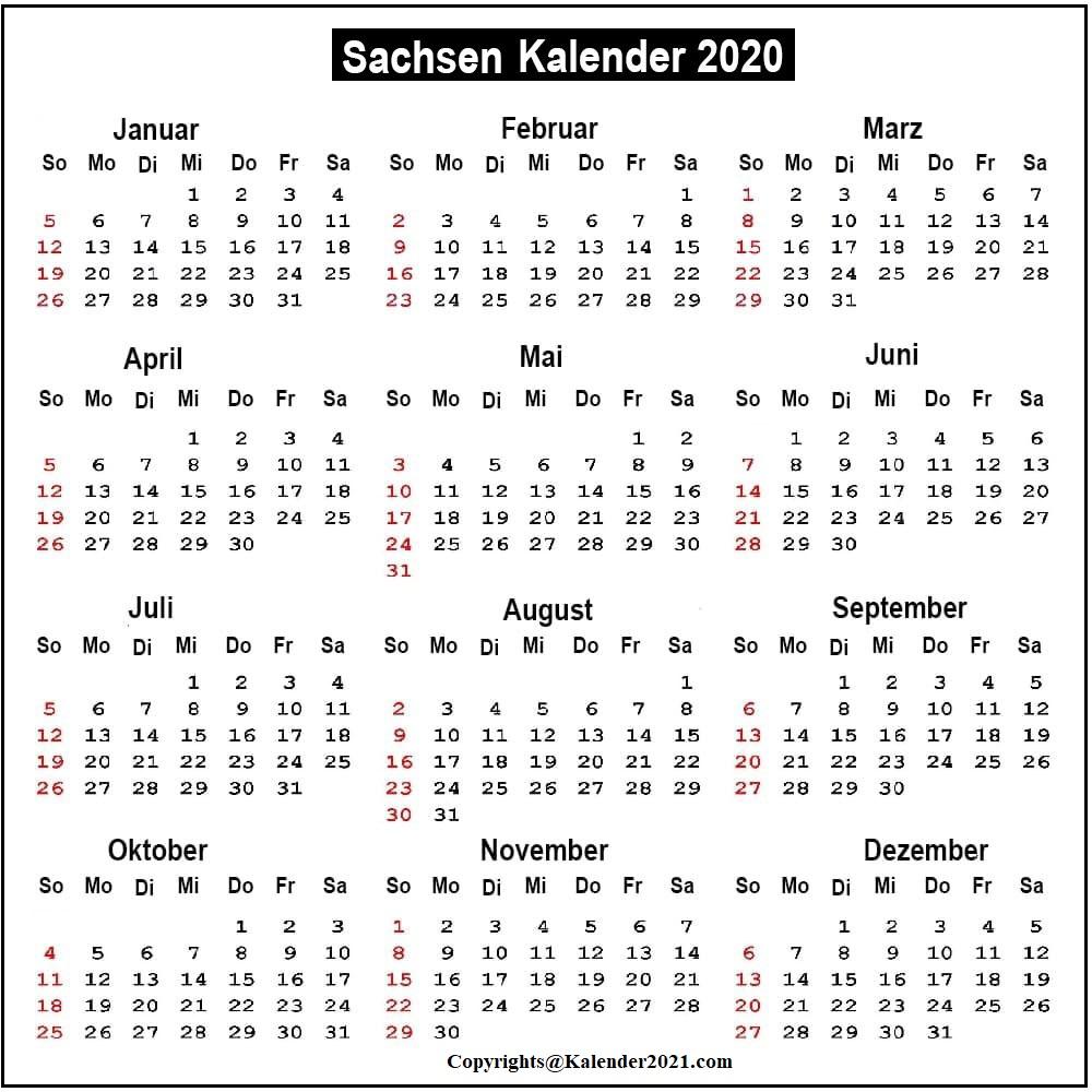 Sachsen 2020 Kalender Zum Ausdrucken