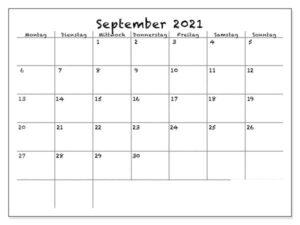 September 2021 Drucken Kalender