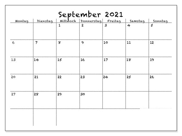 September 2021 Drucken Kalender