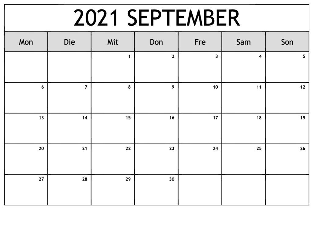 2021 September Kalender Zum Ausdrucken