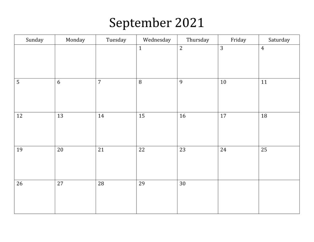 September 2021 Kalender PDF