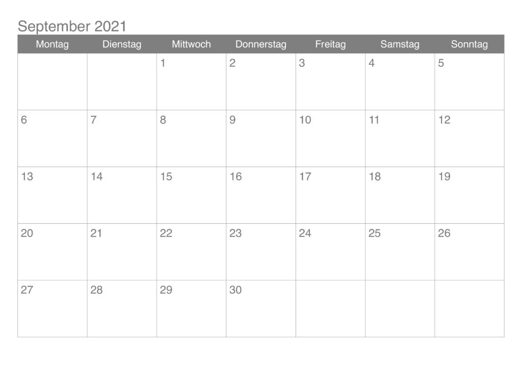 Frei September 2021 Kalender Ausdrucken