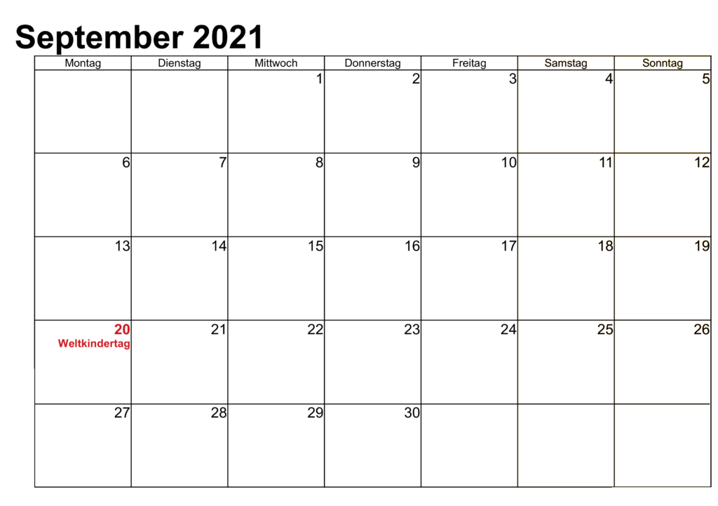 September 2021 Vorlage Kalender