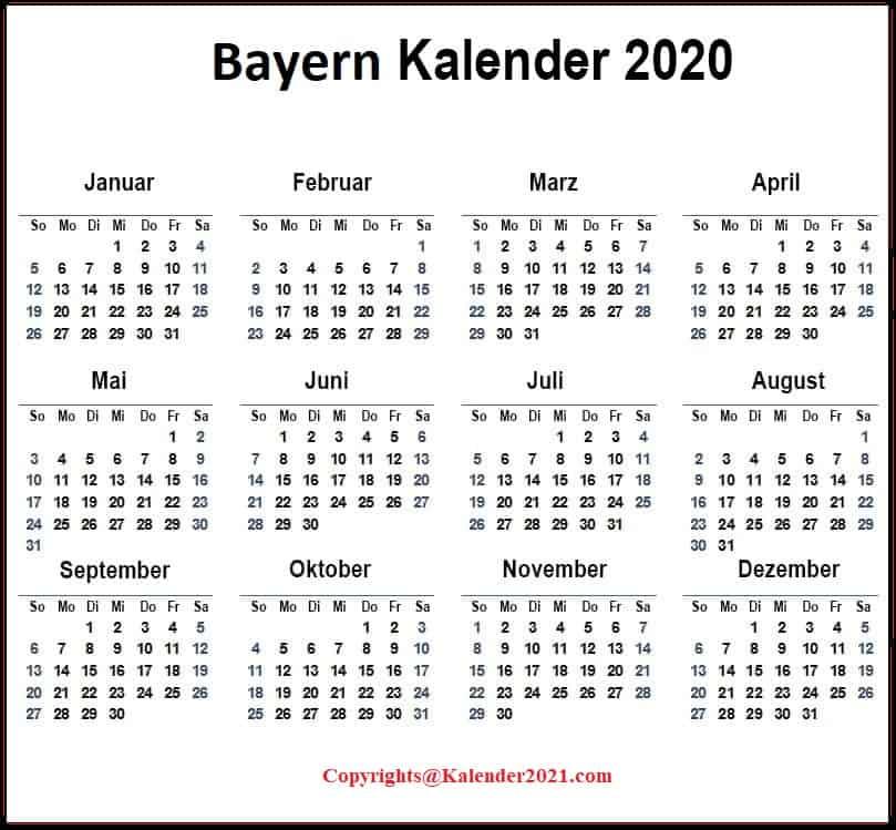 2020 Sommerferien Bayern PDF