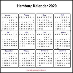 Sommerferien 2020 Kalender Hamburg PDF