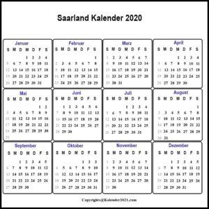 Sommerferien 2020 Saarland PDF