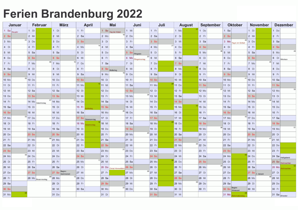 Sommerferien 2022 Brandenburg PDF