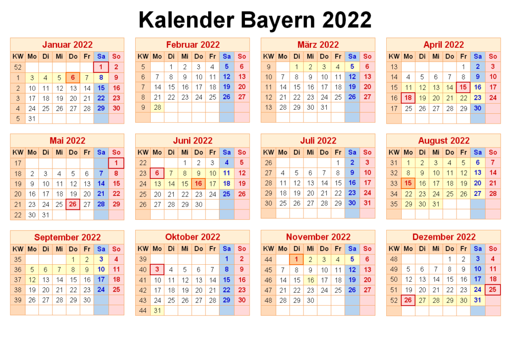 Sommerferien Bayern 2022 Excel Word