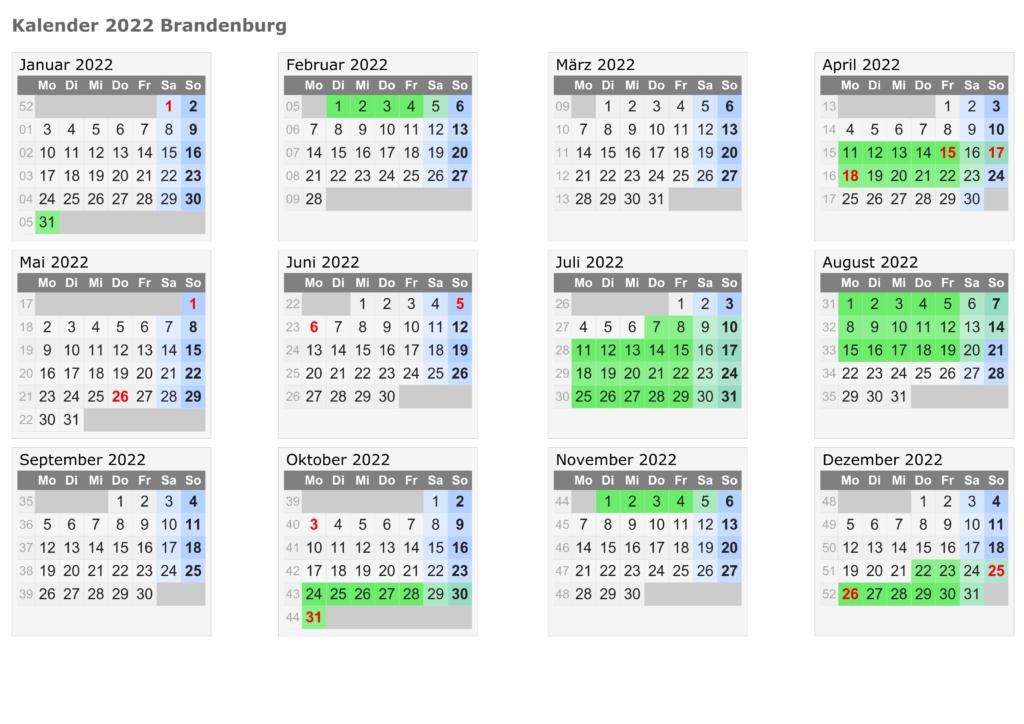 Sommerferien Brandenburg 2022 Excel Word