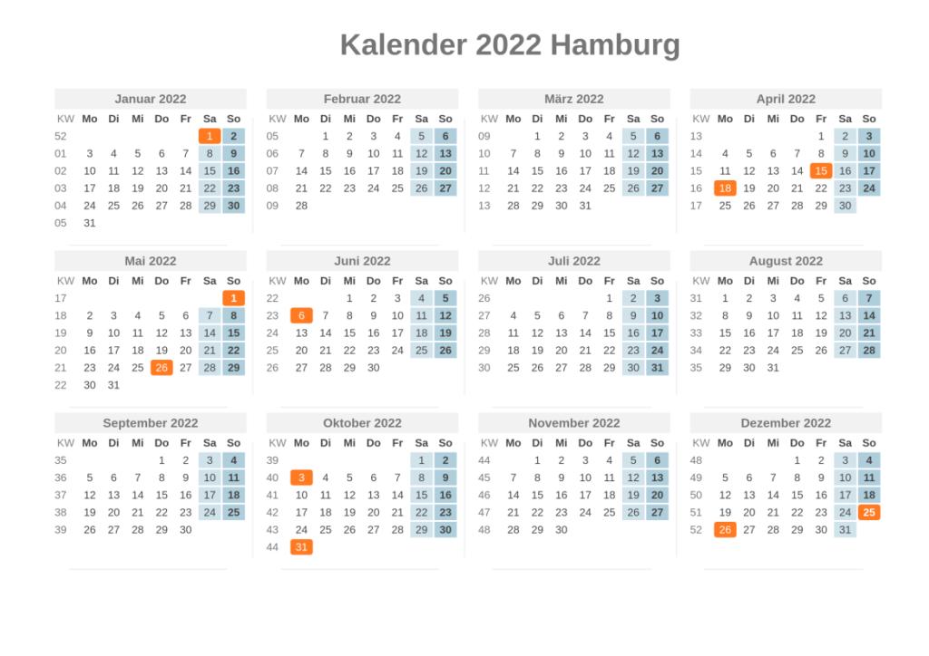 Sommerferien Hamburg 2022 Kalender Excel Word