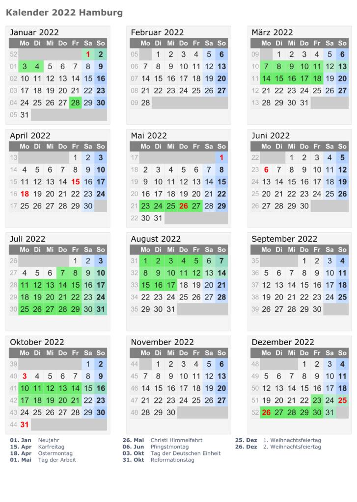 Sommerferien Hamburg 2022 Kalender PDF