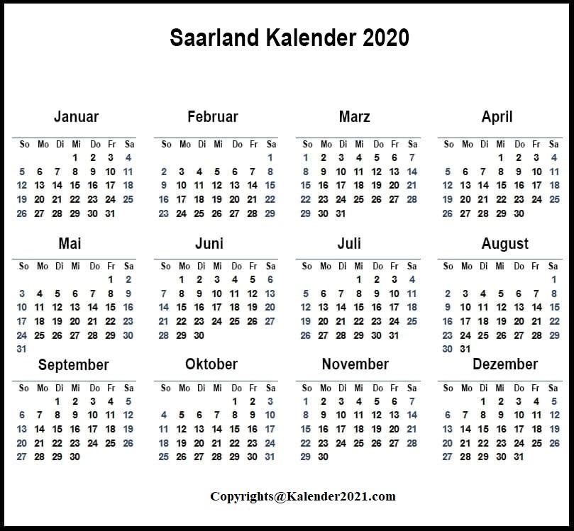 Sommerferien Saarland 2020 Excel Word