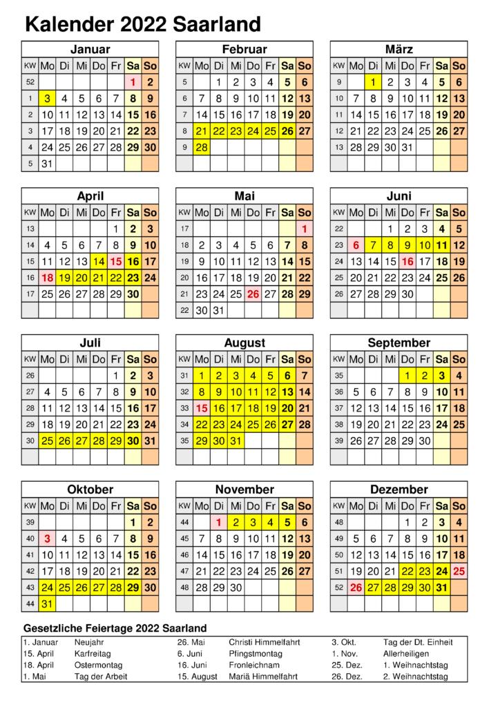 Sommerferien Saarland 2022 Excel Word