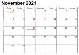 2021 Kalender November Zum Ausdrucken